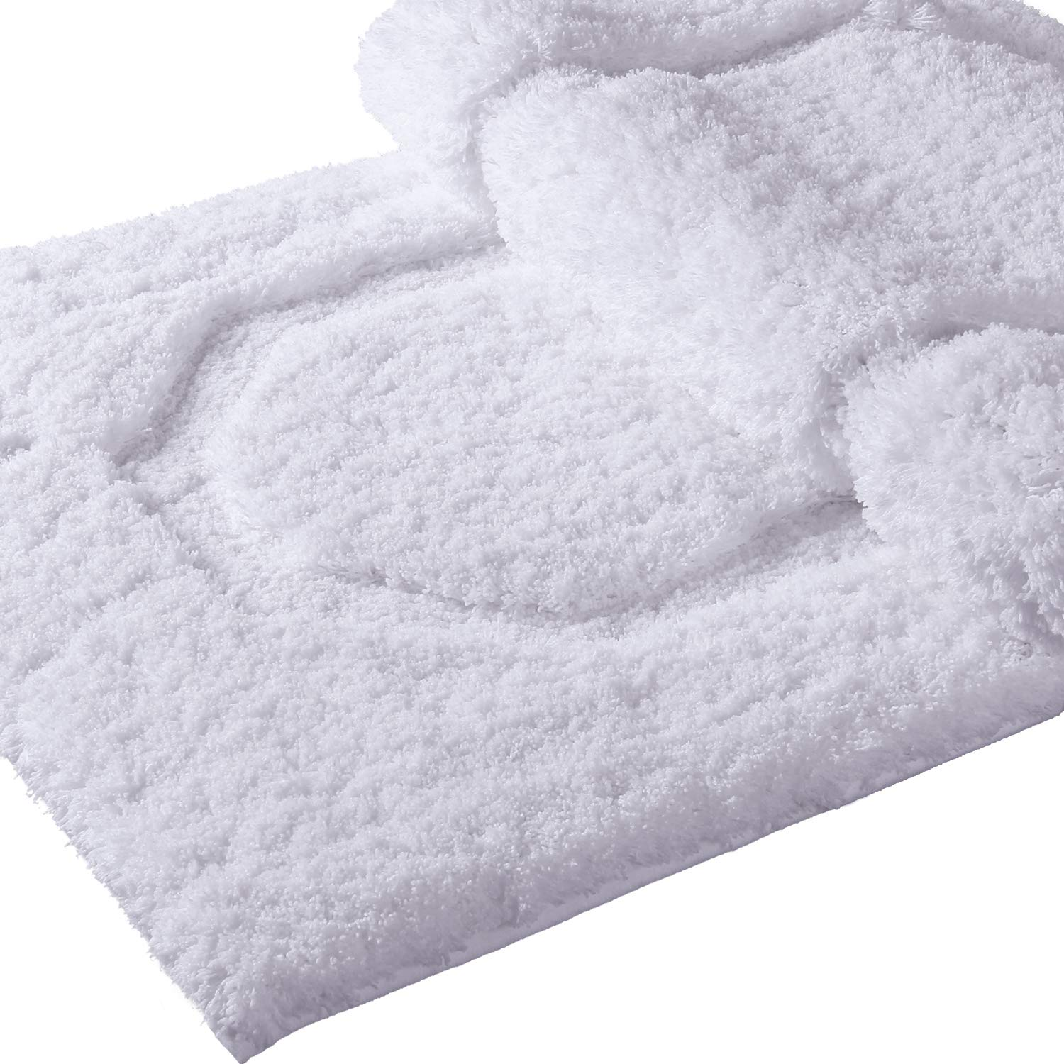 Lifewit Bath Mat White Bathroom Rug Soft Shag Water Absorbent with Non-Slip Rubber, 20 x 32 20 x 32 LF233355WH