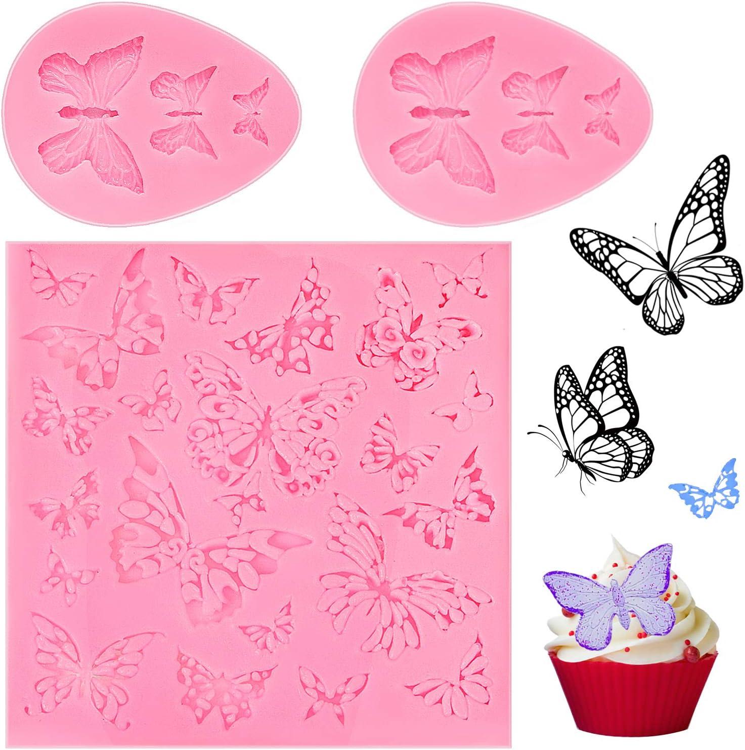 3 Piezas Moldes de Silicona con Forma de Mariposa Hueca Moldes de Pasteles Fondant Molde de Caramelo Chocolate Moldes para Postres Galletas para Utensilios de Hornada Cocina Hogar