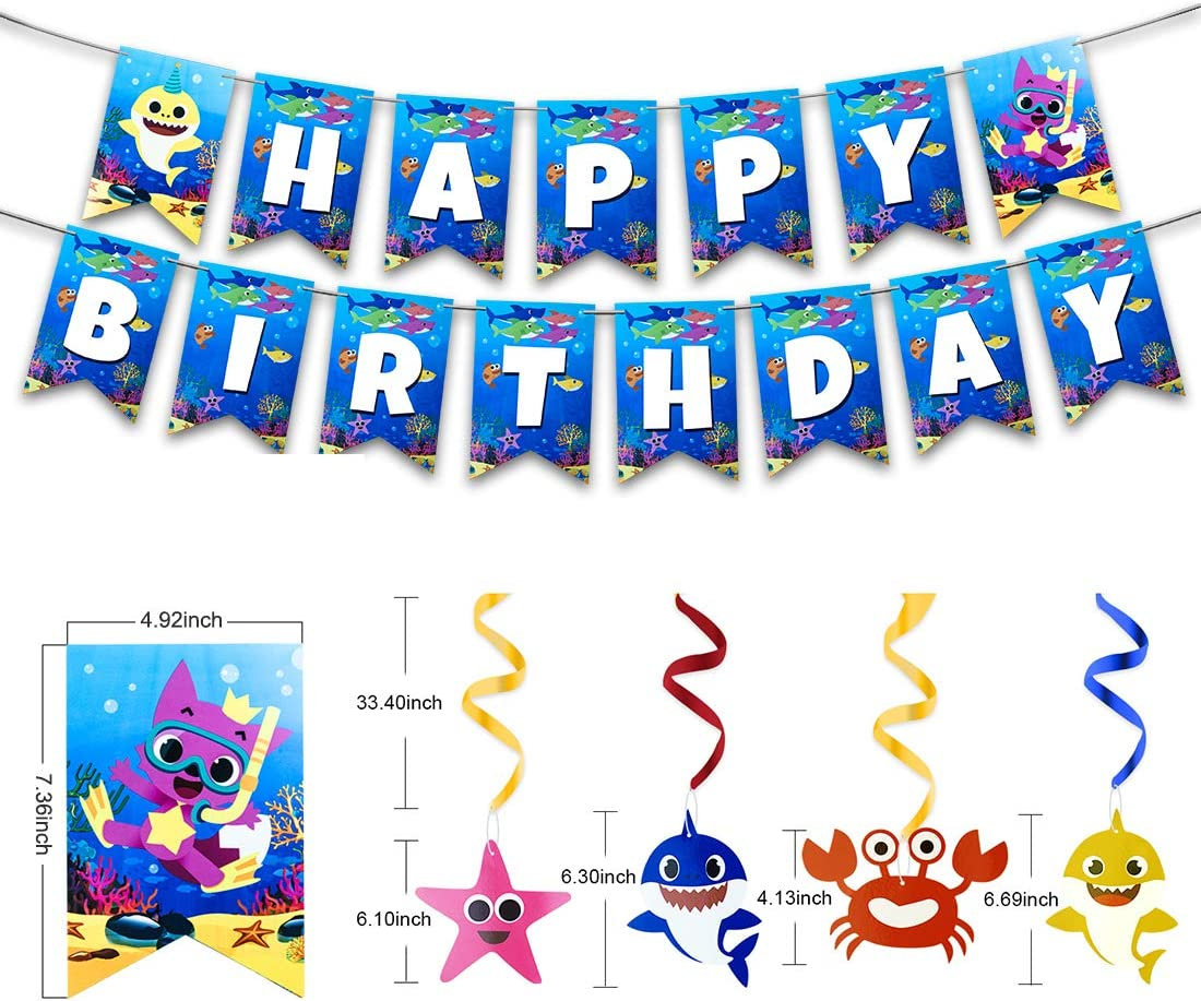 AWESMR 39 Pieces Baby Shark Theme Birthday Party Supplies and Decorations with 30 Pieces Baby Shark Swirl Decorations 1 Piece Baby Shark Birthday Banner 7 Pieces Shark Foil Helium Balloons 1 Piece Large-size Baby Shark Table Cloth for Shark Party Kid Baby