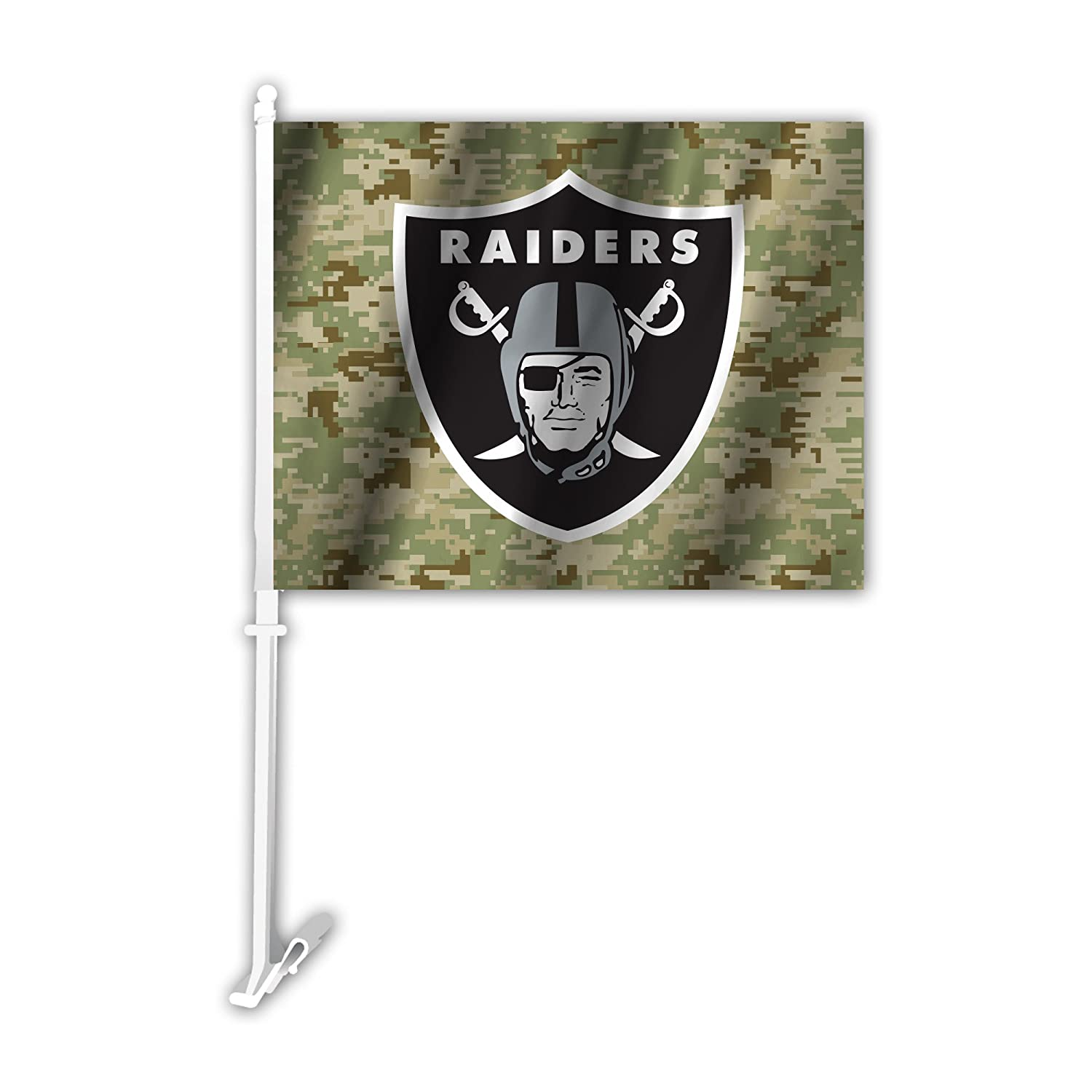 NFL Oakland Raiders Camo Car Flag, Green, One Size Fremont Die 991