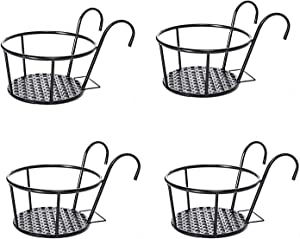 Metal Plant Stand, Pack of 4 Indoor Outdoor Metal Plant Stands, Metal Art Hanging Baskets Flower Pot Holder Over The Rail Metal Fence Planters Assemble for Snake Plants Display Rack (Black)