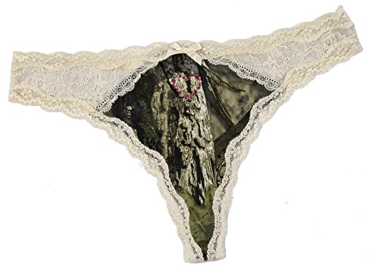 fc0640a103ef Nyteez Women's Mossy Oak Camouflage Thong Panty with Rhinestone Heart,  Pink, ...