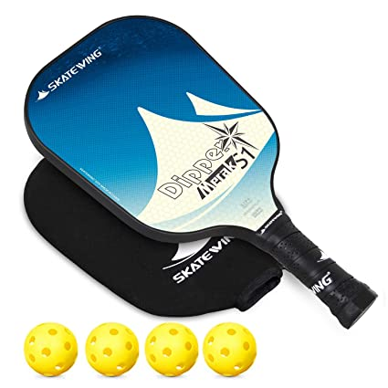 SKATEWING Pickleball Paddle, Polypropylene Honeycomb Composite Core Fiberglass Face Ultra Cushion 4.40 Inch Grip Low Profile Edge Bundle Graphite ...