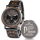 Engraved Wooden Watch for Boyfriend My Man Fiancé Husband Customized Personalized Wood Watches for Men Birthday…