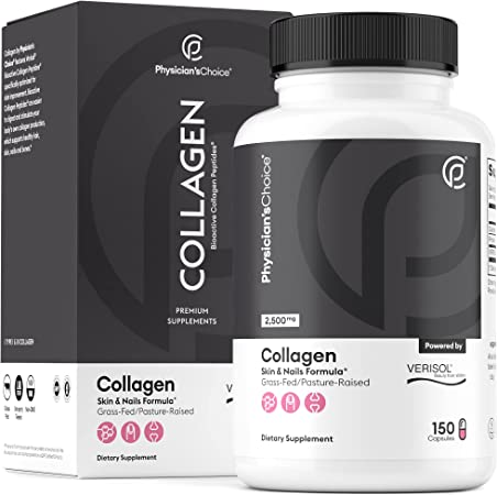 Bioactive Collagen Pills - Clinically Proven & Patented Verisol Collagen Peptides - Premium Hydrolyzed Collagen Capsules - Promotes Healthy Hair, Skin, Nails - Non-GMO, 150 Capsules