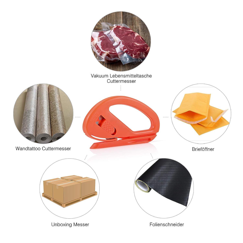 winjun 2 unidades naranja Pantalla Cortador Seguridad Cortador de papel manualidades Cuchillo abrecartas con 10 Pack Cuchillas de repuesto: Amazon.es: ...