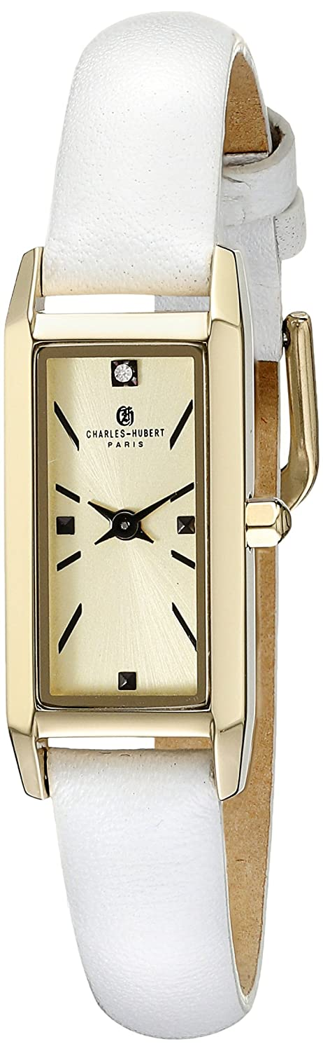 charles-hubert - Paris Damen 6911-g Premium Collection Analog Display Japanisches Quarz-Weiß Armbanduhr
