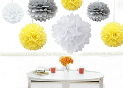 Buy kubert pom poms 18 pcs tissue paper flowers white yellow kubert pom poms 18 pcs tissue paper flowerswhite yellow silver junglespirit Image collections