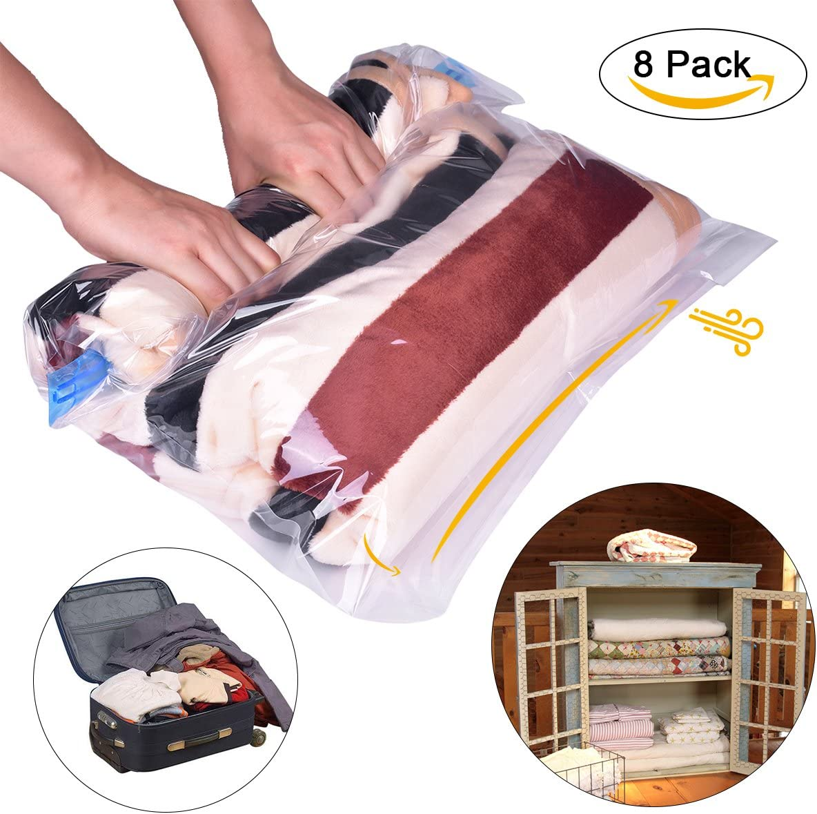 Vacuum Compressed Storage Bags Space Saving Clothes Bedding Reusable Seal Xmas