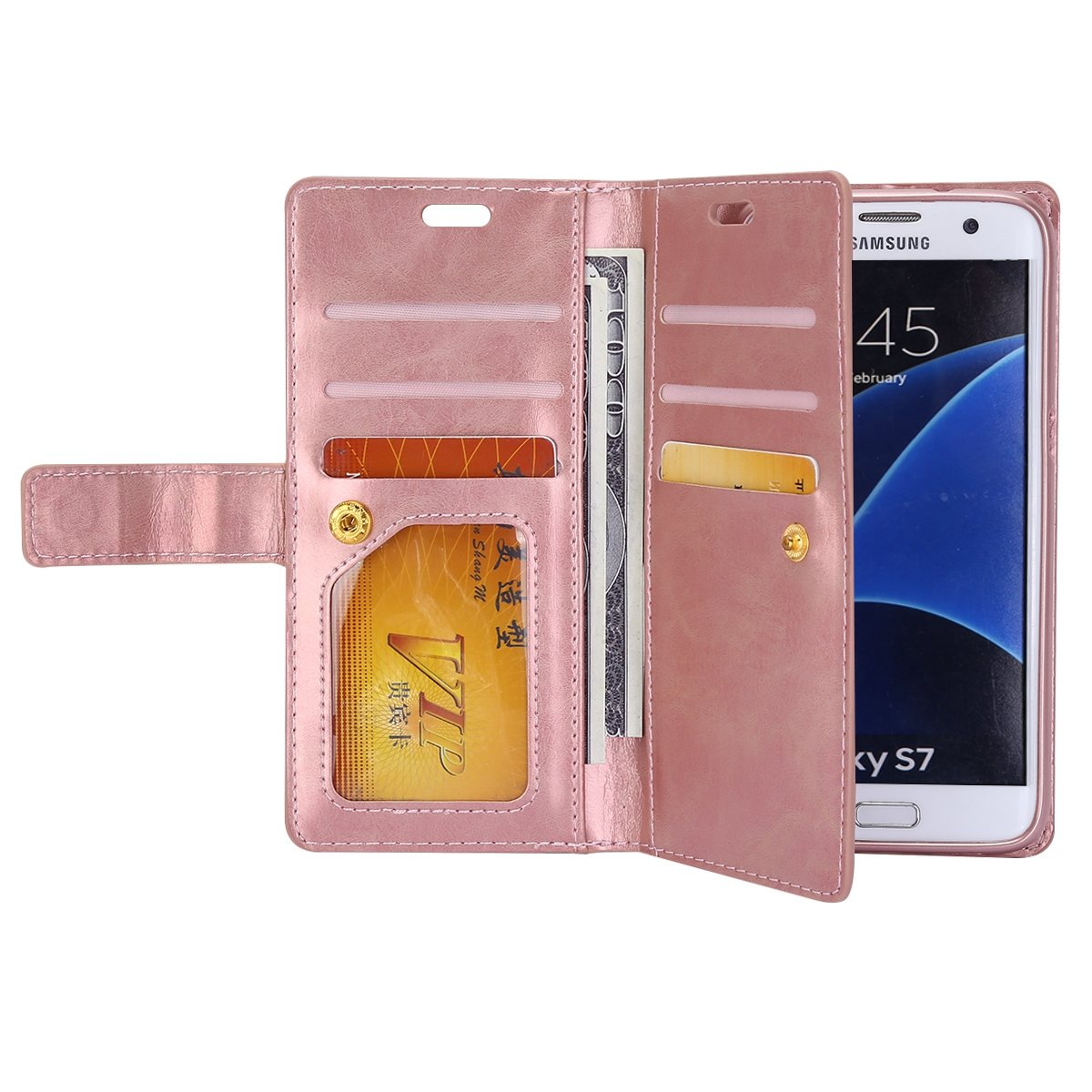 Black Robinsoni Case Compatible with Samsung Galaxy A5 2017 PU Leather Wallet Case Gel Bumper Protective Cover Phone Case with Zipper Folio Flip Kickstand Notebook Cover Case for Samsung A5 2017