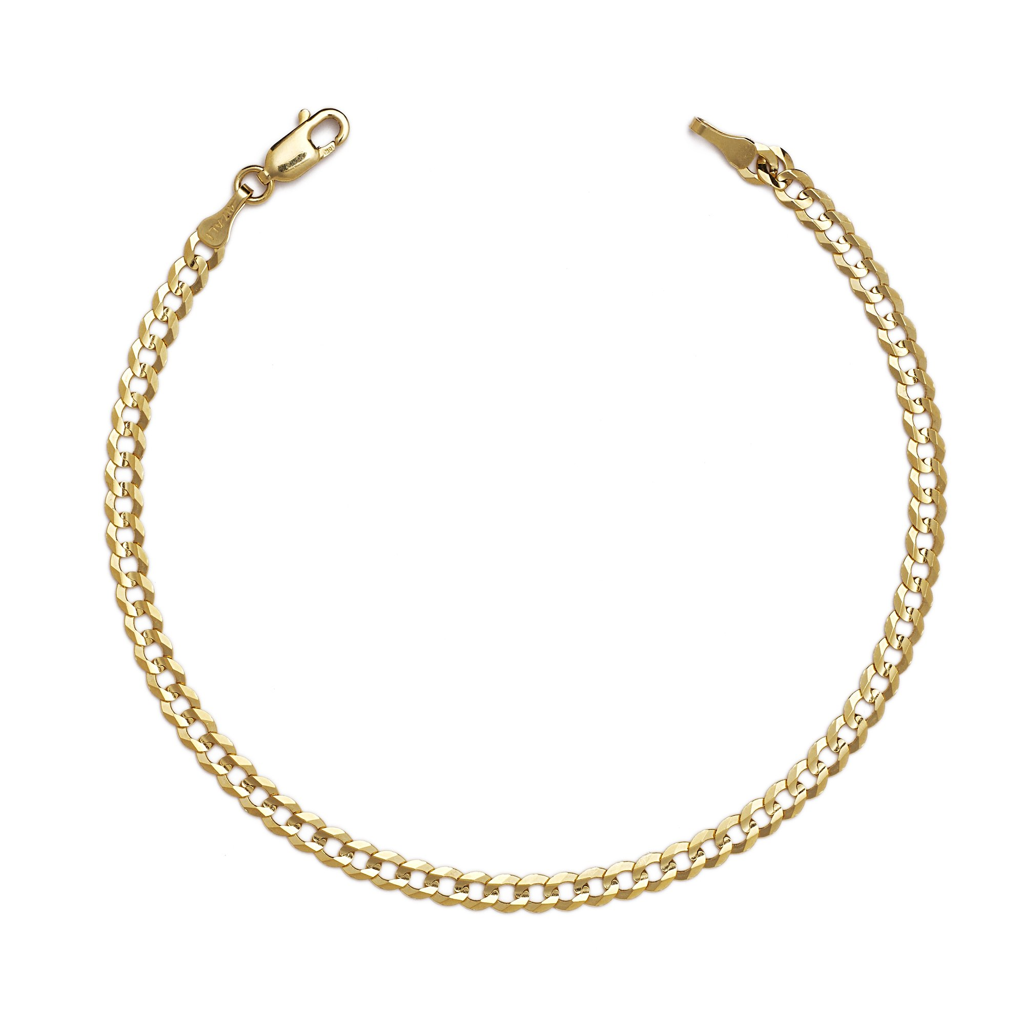 10 Inch 10k Yellow Gold Curb Cuban Chain Ankle Bracelet Anklet for Women and Girls, 0.16 Inch (4mm) by SL Gold Imports (Image #4)