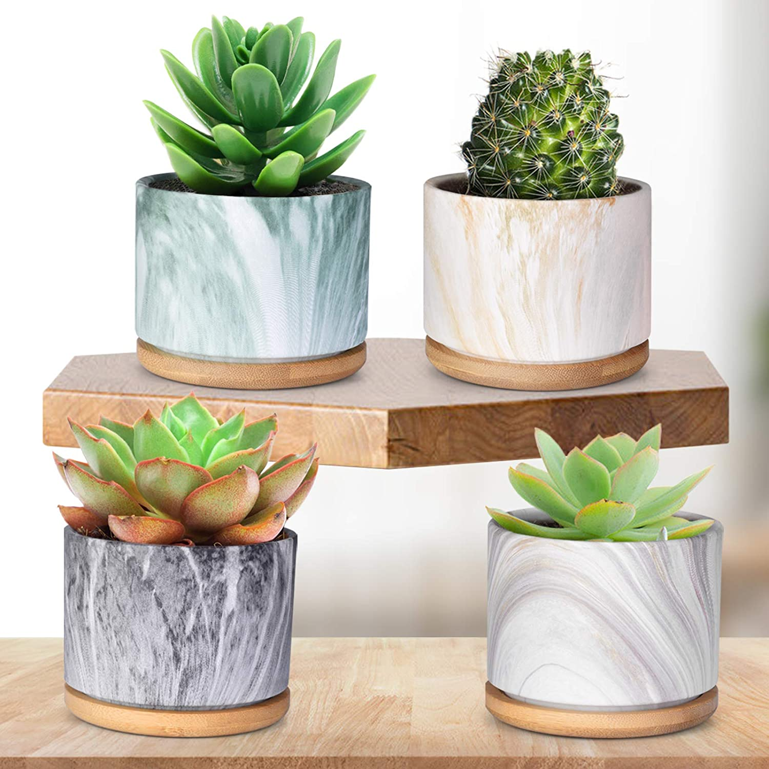 "Succulent Pots, 3.5"" Succulent Planters with Drainage Hole, Marbling Ceramic Planters, Mini Succulent Plant Pots with Bamboo Tray, Great for Home Decor and Ideal Gift, Set of 4(Plants not Included)"