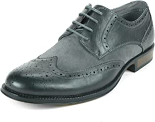 77b077ec2f01 alpine swiss Zurich Mens Wing Tip Oxfords Two Tone Brogue Medallion Dress  Shoes