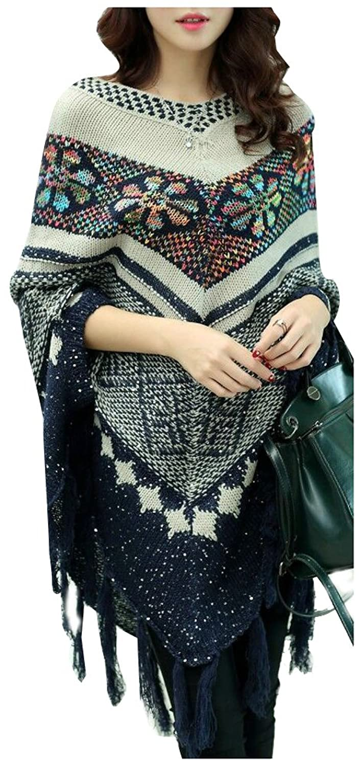 Ilishop Women's Cape Poncho Sweater With Tassels Hem Knitwear Jumper