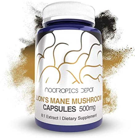 Lions Mane Mushroom Capsules | 8:1 Whole Fruiting Body Extract | 500mg | 60 Count | Hericium erinaceus