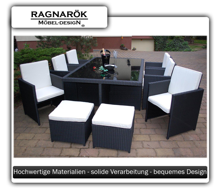 Ragnarök-Möbeldesign Garden Furniture Set with 1 Glass-Topped ...