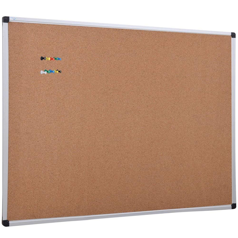 XBoard Aluminum Frame Wall-Mounted 48 x 36 inch Thick Cork Board Push Pin Boards for Display and Organization