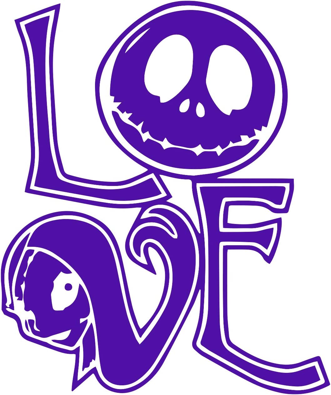 Nightmare Before Christmas Love Sally and Jack Decal Vinyl Sticker Cars Trucks Vans Walls Laptop 5.5 x 4.5 (Light Purple)