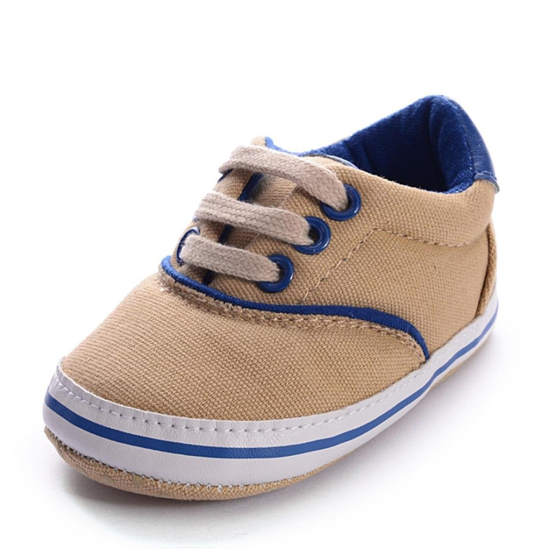 Egmy Baby Shoes Toddler Boys 0-12 Months Ankle Canvas Soft Sole Antislip Baby Crib Shoes Sneaker