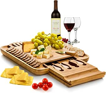 Roccar Dynamic Gear Bamboo Cheese Board Set with Cutlery in Slide-Out Drawer Including 4 Stainless Steel Serving Utensils - Perfect Charcuterie Board and Serving Tray for Entertaining or Gift Giving