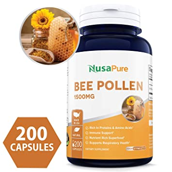 Amazon.com: Best Bee Pollen 1500 mg 200 caps (sin gluten ni ...