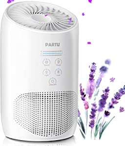 PARTU HEPA Air Purifier - Smoke Air Purifiers for Home with Fragrance Sponge - 100% Ozone Free, Lock Set, Eliminates Smoke, Dust, Pollen, Pet Dander, (Available for California)-White