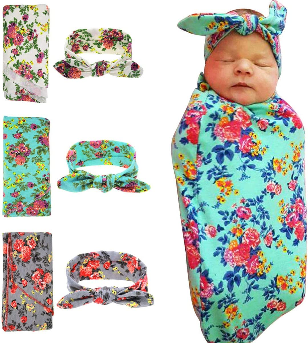 green HoveBeaty Newborn Receiving Blanket Headband Set Knitted Cotton Swaddle Blankets Flower Print Baby Infants Wrapped Blankets