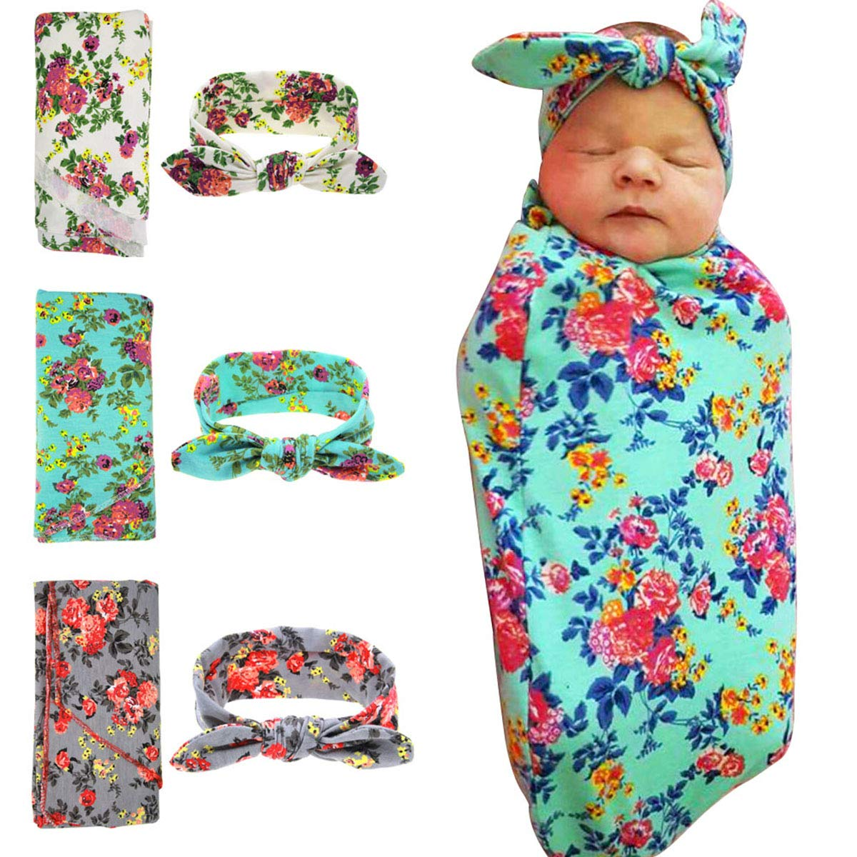 HoveBeaty Newborn Receiving Blanket Headband Set Knitted Cotton Swaddle Blankets Flower Print Baby Infants Wrapped Blankets (green)