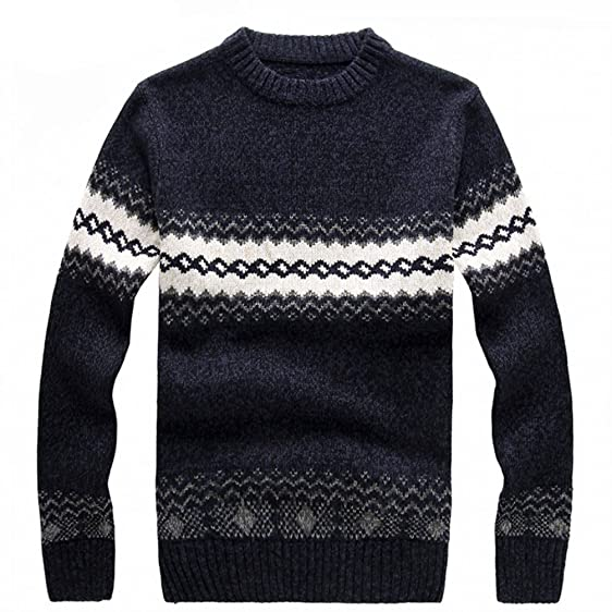 ZGleather New New Men's Knitted Sweater Patterns Striped Thick Beauteous Sweater Patterns