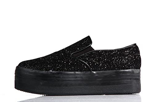 Jeffrey Campbell Play Slip-on Glitter Black Platform Sneaker - Mocassini  Suola Alta Stampa Nera Glitter  Amazon.it  Scarpe e borse 1d76c4eadee