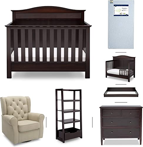Serta Barrett 7-Piece Nursery Furniture Set - Convertible Crib, Dresser, Changing Top, Nightstand, Crib Mattress, Glider, Crib Sheets - Dark Chocolate