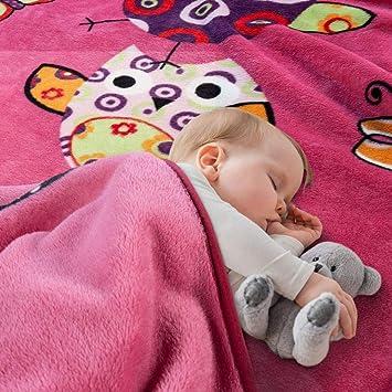Paco Home Decke Kinderdecken Niedliche Eulen Pink Fuchsia Kuscheldecke Spieldecke Gr/össe:155x215 cm