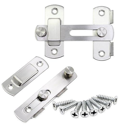 Hseamall 2 UNIDS de acero inoxidable puerta de cierre del tirón cierres de la barra de la cerradura de la puerta de seguridad para la ventana de la ...