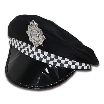 Ousdy Gorro de policía 692094 - Negro  Amazon.es  Juguetes y juegos 4bffdaa6a90
