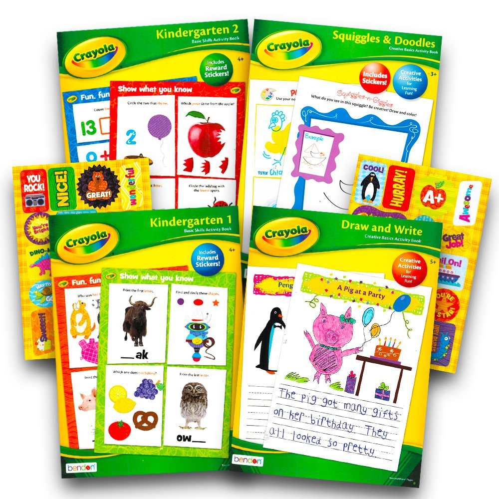 Crayola Kindergarten Workbooks Set -- 4 Learning Workbooks for  Kindergarteners and Reward Stickers (Creative Thinking, Writing, Basic Math  and More)