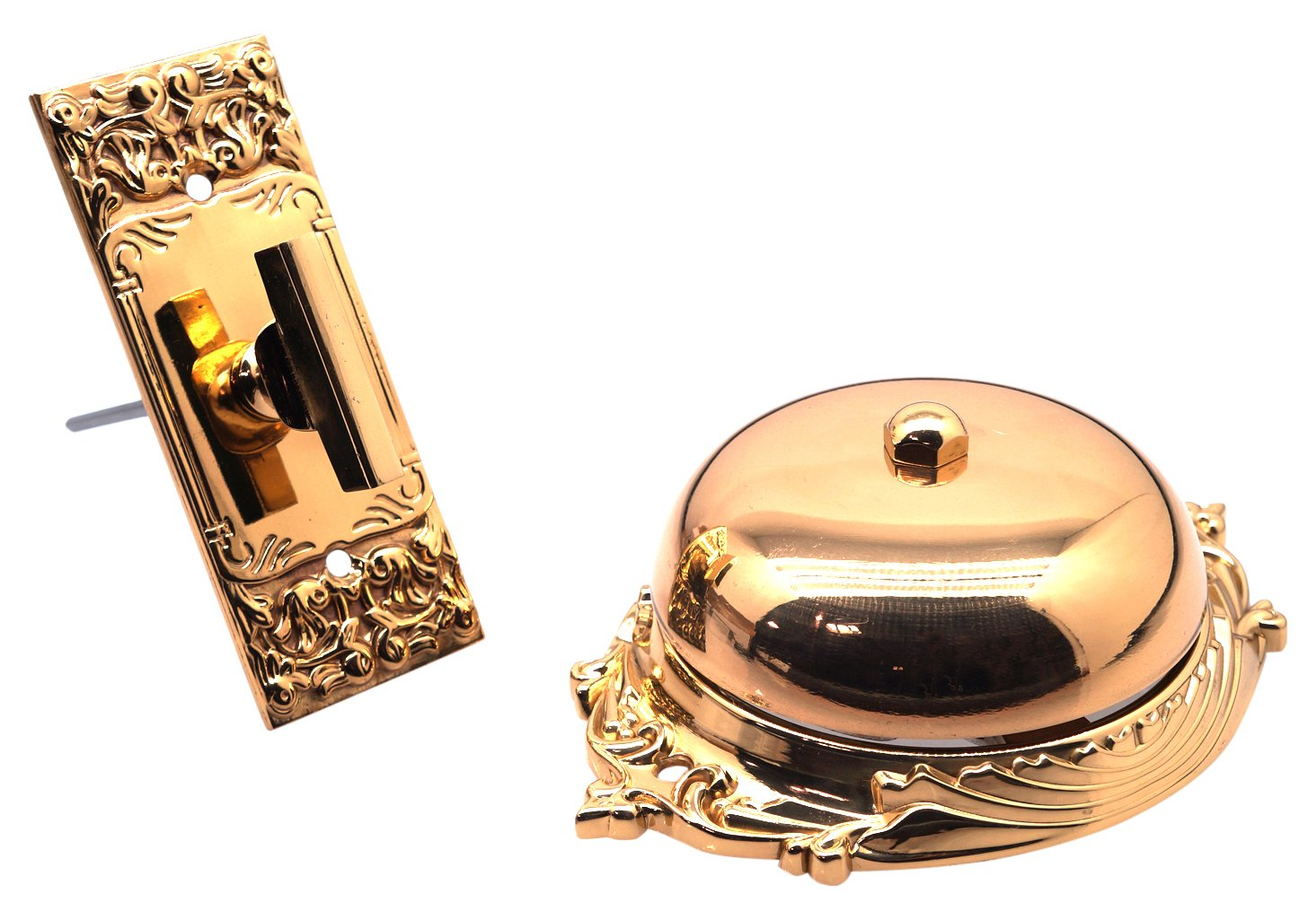 idh by St. Simons 18054-003 Craftsman Premium Quality Solid Brass Twist Bell with Key Plate, Polished
