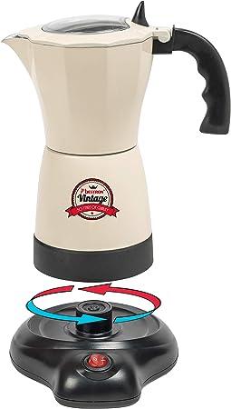 Bestron Cafetera Eléctrica para Expreso, Vintage, 6 Tazas de Expreso, 480 W, Aluminio, Beige: Amazon.es: Hogar