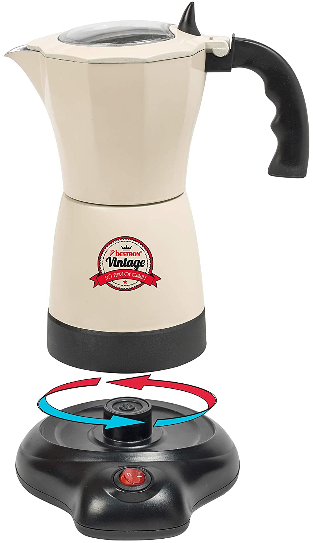Bestron Cafetera Eléctrica para Expreso, Vintage, 6 Tazas de Expreso, 480 W, Aluminio, Beige