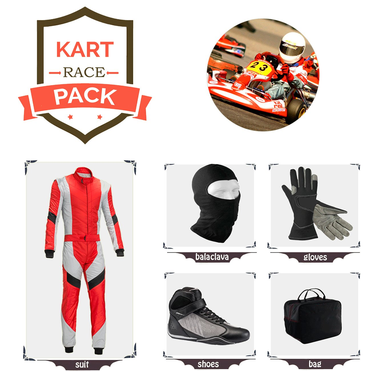 Red with White Black Style Sports Blue Go Kart Racing Suit Suit,Gloves,Balaclava and Shoes Free Bag