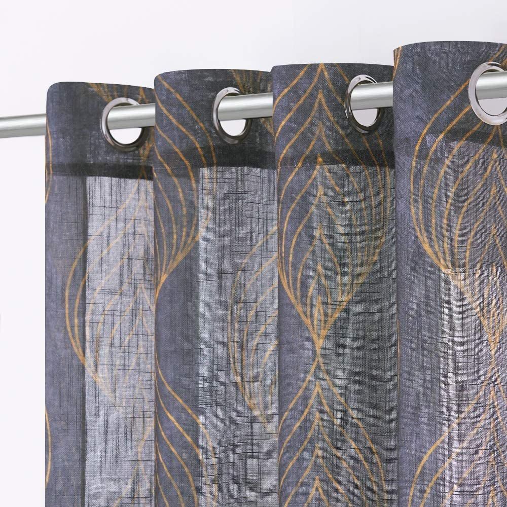 Kgorge Semi Sheer Gray Curtains Geometry Curtains 63 Inch Length Soft Golden Leaf Vein Printed Semi Transparent Window Panels For Bedroom Living Room Dining Room 2 Pieces Grey Amazon Co Uk Kitchen Home