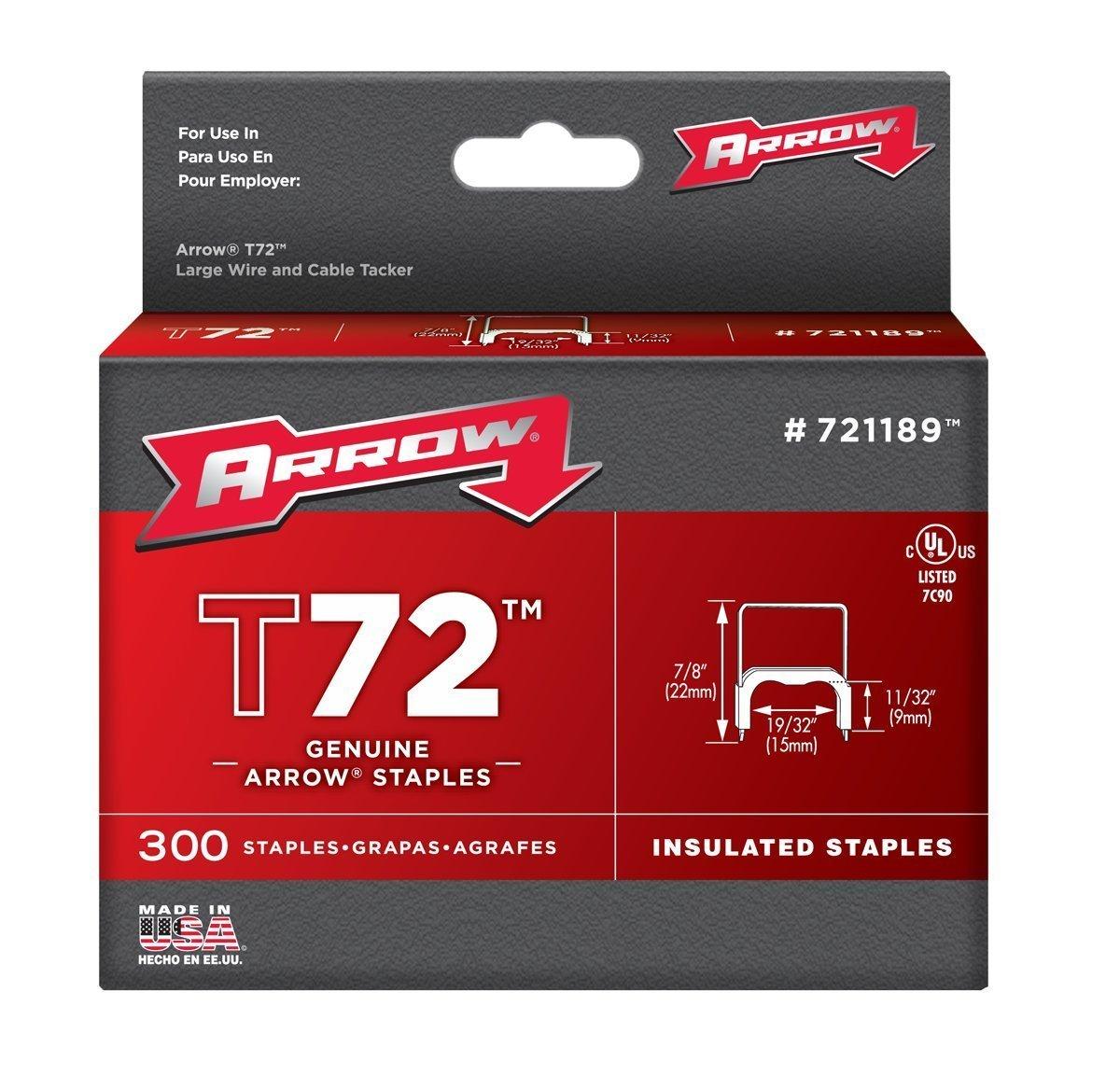 Arrow Fastener 721189 Genuine 1/2-Inch T72 Insulated Staple, 300-Pack