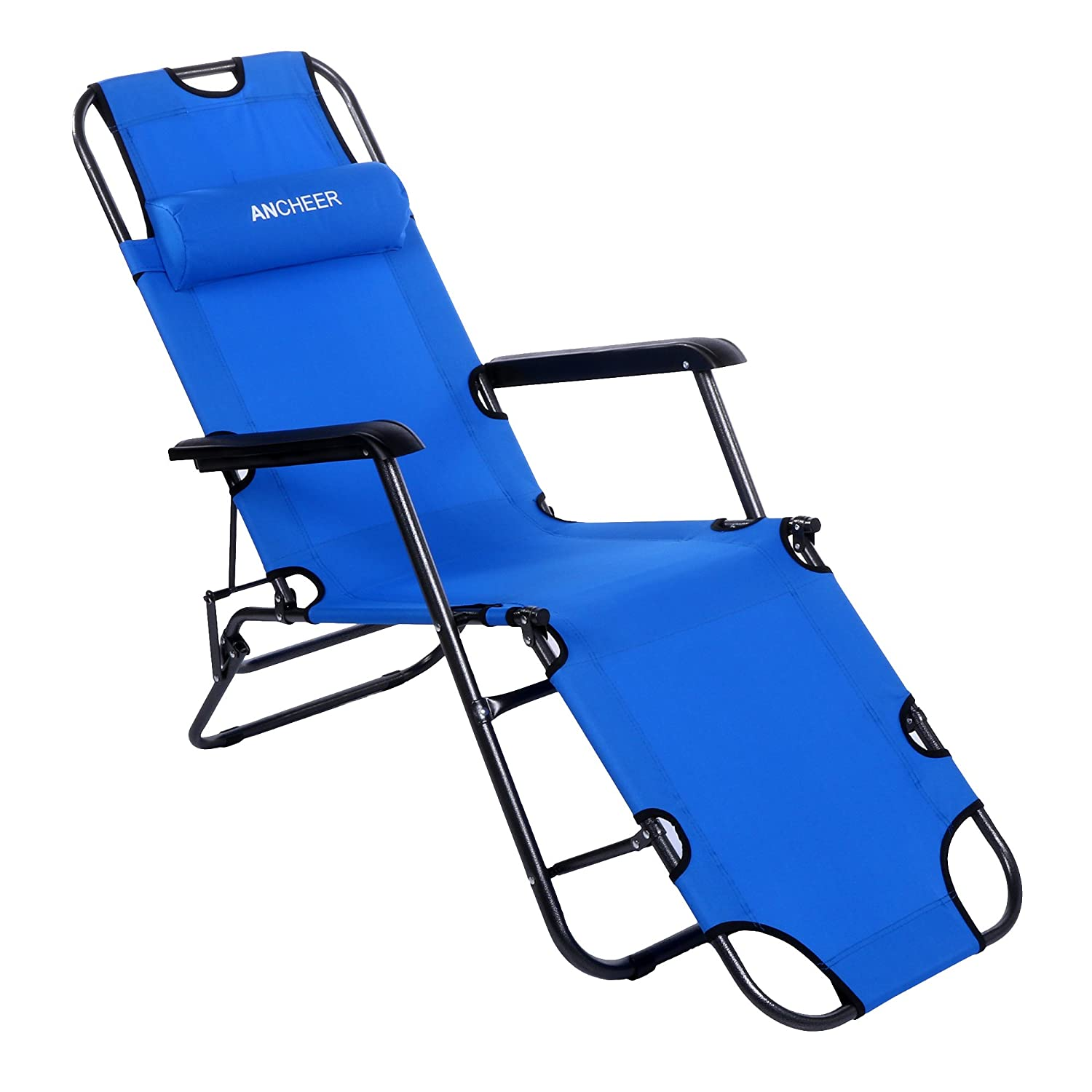 Beach lounge chair portable - Amazon Com Ancheer Chaise Lounge Folding Lounge Chair Beach Chaise Portable Cot With Adjustable Pillow Sports Outdoors