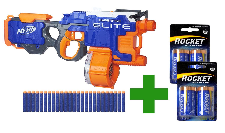 Hasbro Nerf N-Strike Elite Hyperfire Starter Pack: Der ultra-schnelle vollautomatische Blaster mit passenden Batterien im Bundle