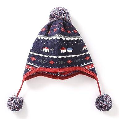LAPLBEKE Bébé Enfant Bonnet Chaud Mignon Pompom Beanie Casquette Chapeau  Crochet Tricot Automne Hiver Enfants Fille Garçon Ensemble de Foulard Bonnet   ... 56009ac493d