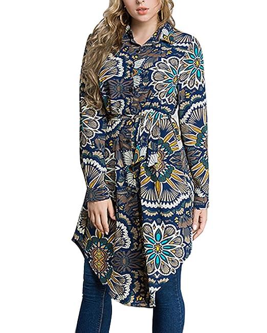 3063101862a8 Blusas Largas Mujer Camisa Manga Larga Estampado Floral Vestido ...