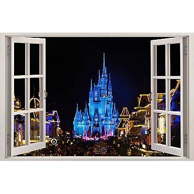 Disney Castle 3D Window Decal Wall Sticker Home Decor Art Mural Kids J170, Huge: Home & Kitchen