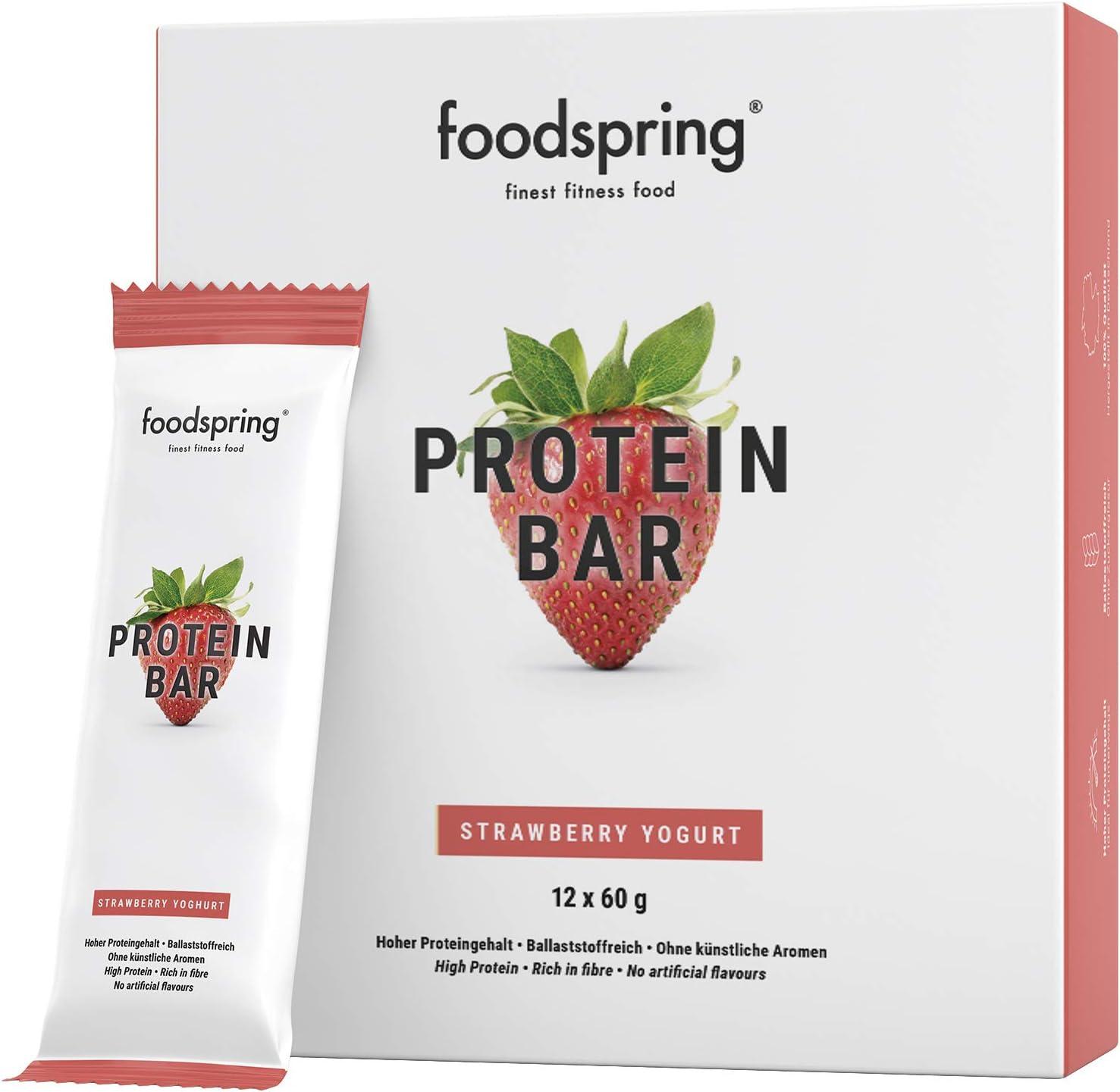 foodspring Barritas de Proteína, Sabor Fresa, Pack de 12 x ...