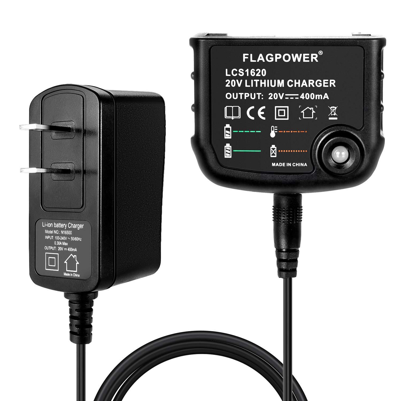 FLAGPOWER 20V Lithium Battery Charger LCS1620 for Black+Decker 16V 20V Lithium Ion Battery LBXR20 LBXR20-OPE LB20 LBX20 LBX4020 LB2X4020 LBXR2020-OPE BL1514 LBXR16