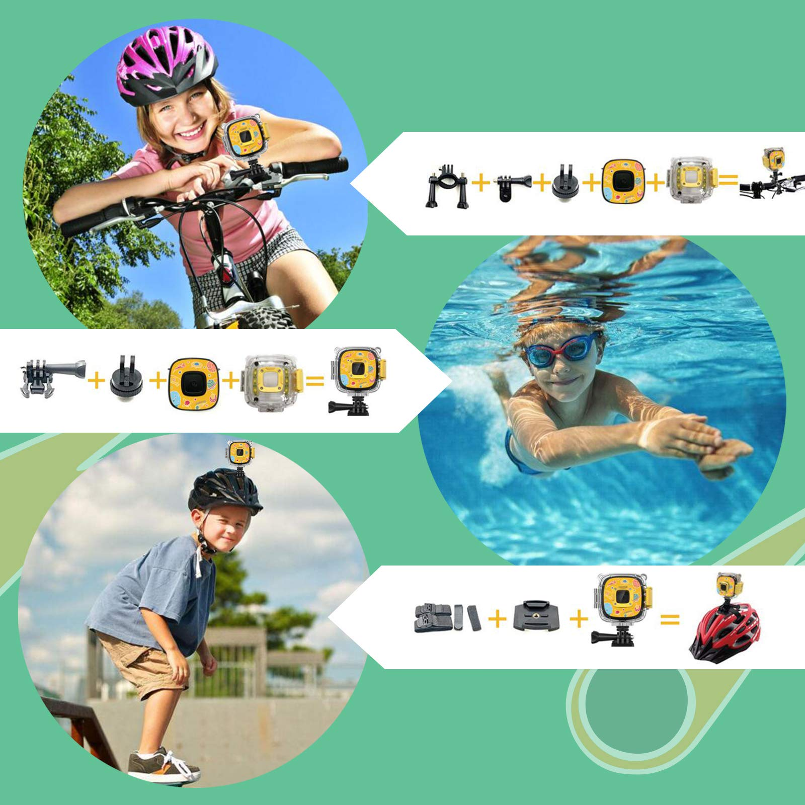 Rosefray Kids Camera,1080P HD Kids Action Camera, Sports Kids Digital Cameras for Boys and Girls, 16GB SD Card, Yellow by Rosefray (Image #4)