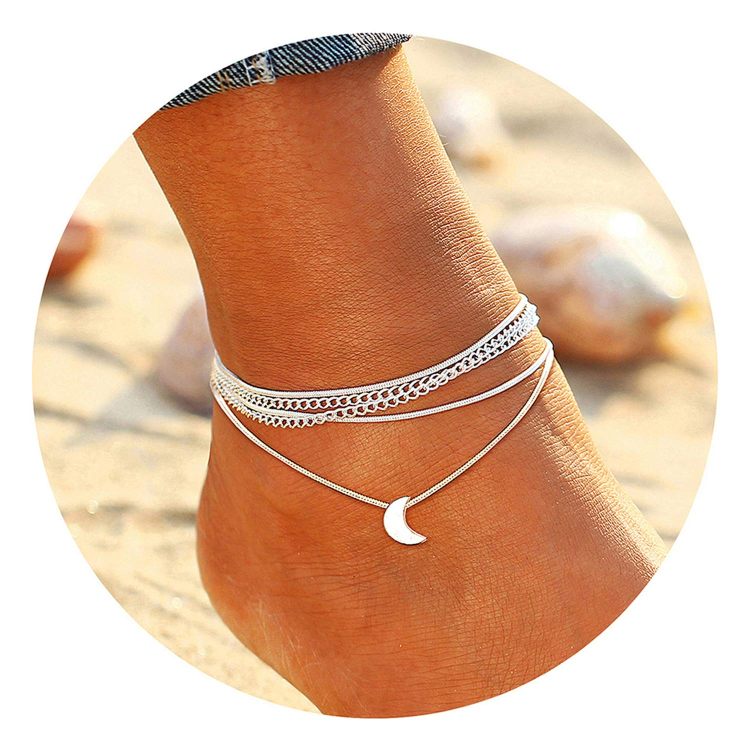 FAXHION Summer Beach Silver Plated Multilayer Anklet Cute Blue Beads Simple Casual Ankle Jewelry for Women